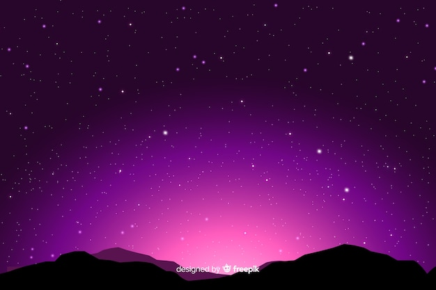 Gradient starry night background Free Vector