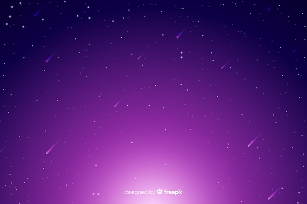 Gradient starry night sky with falling stars Free Vector