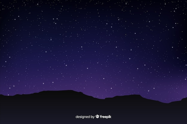 Gradient starry night sky with mountains Free Vector