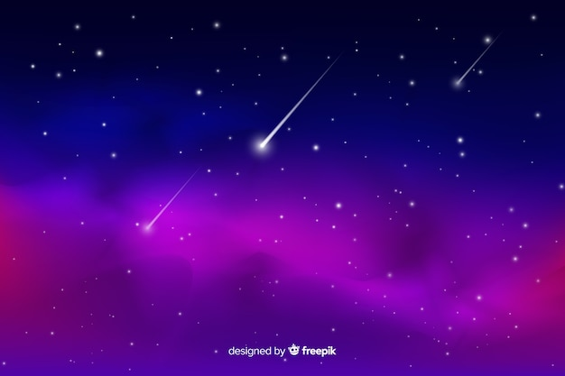 Gradient starry night with shooting star background Free Vector