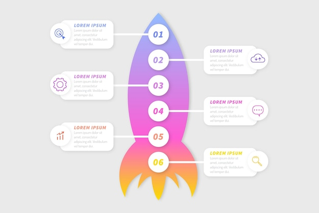 Gradient startup infographic template Free Vector