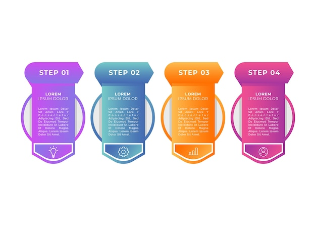 Gradient steps infographic template Free Vector