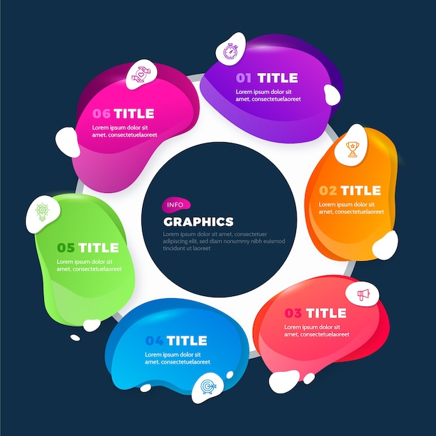 Gradient style abstract shape infographic Free Vector