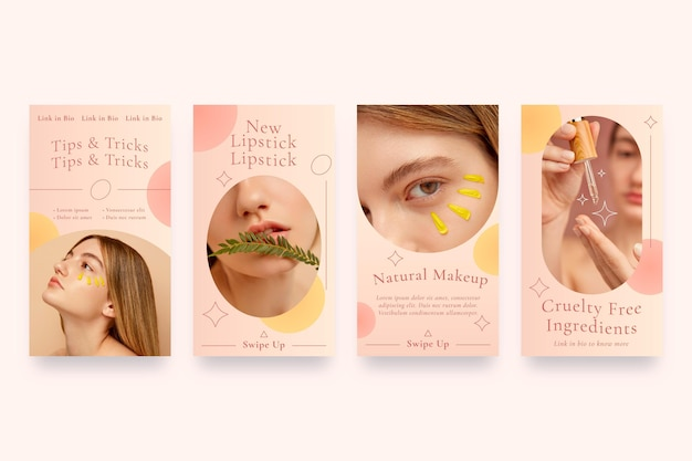 Gradient style beauty instagram story collection Free Vector