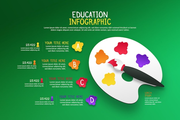 グラデーションスタイルの教育のインフォグラフィック 無料ベクター
