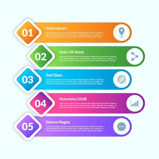 Gradient style infographic elements Free Vector