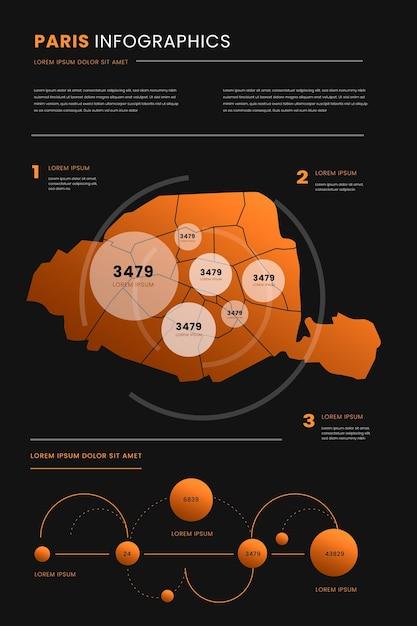 Modello di infographics della mappa di parigi di stile gradiente Vettore gratuito
