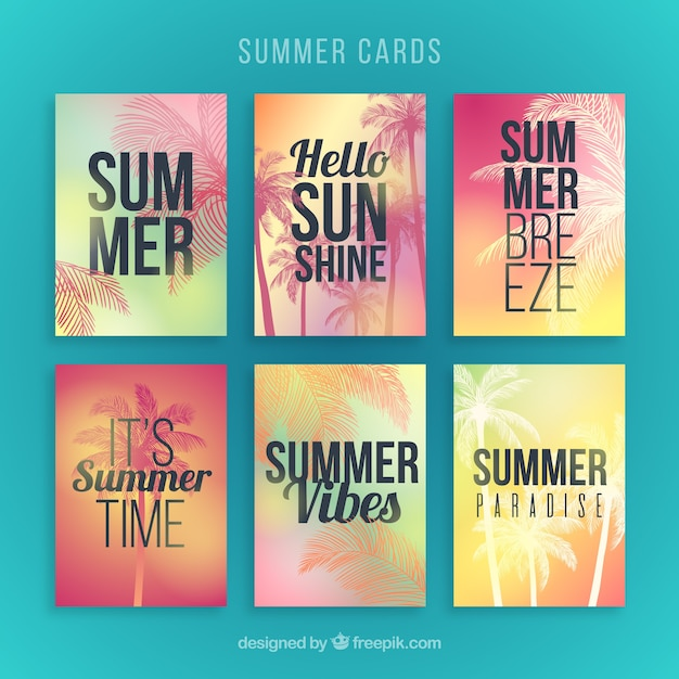 Gradient summer cards with silhouette palms Free Vector