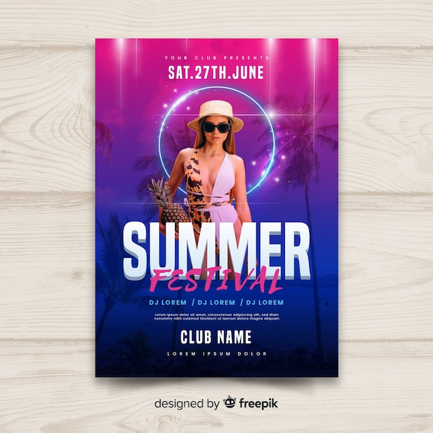 Gradient summer music festival poster Vector | Free Download