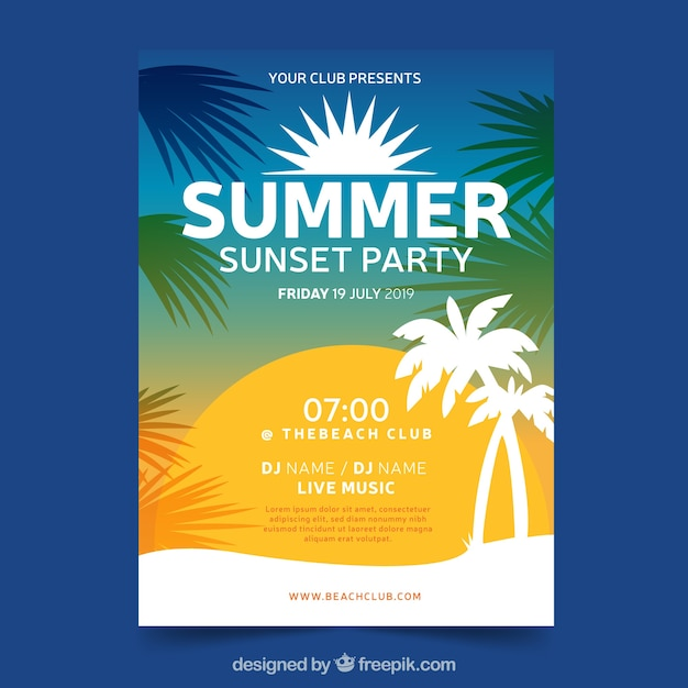 Gradient summer party poster template Free Vector