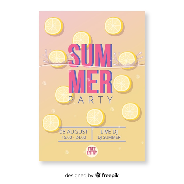 Gradient summer party poster Free Vector