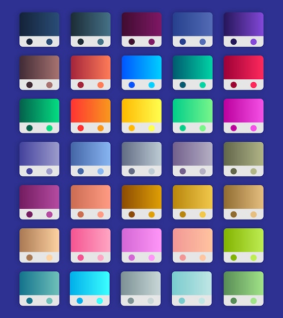 Gradient swatches set, vibrant gradients collection Premium Vector