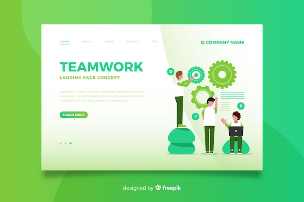Gradient teamwork landing page Free Vector