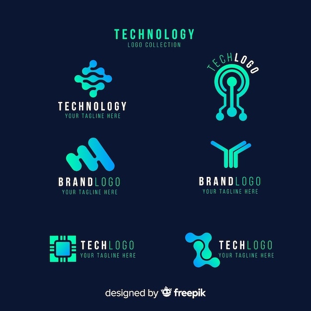 Gradient technology blue logo collection Free Vector