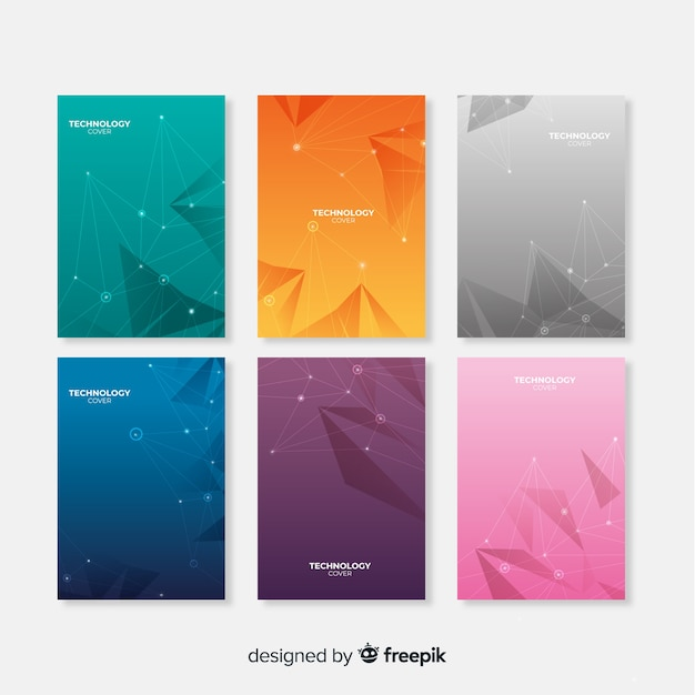 Gradient technology brochure pack Free Vector
