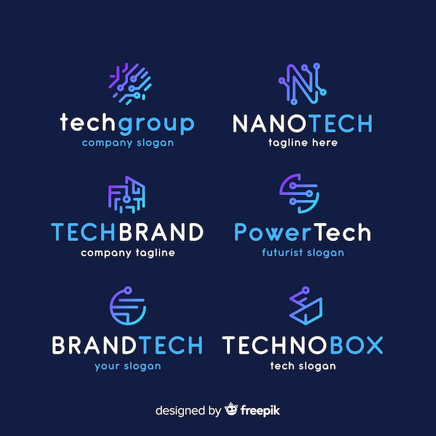 Gradient technology logo collection Free Vector