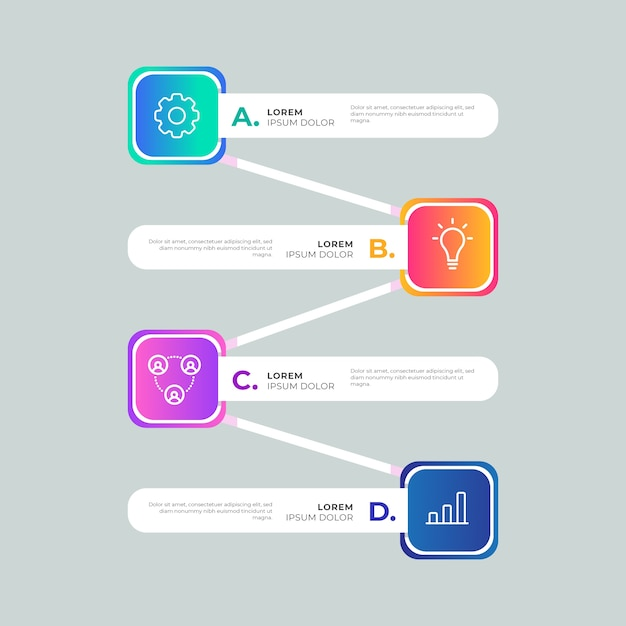 Gradient template colorful infographic Free Vector