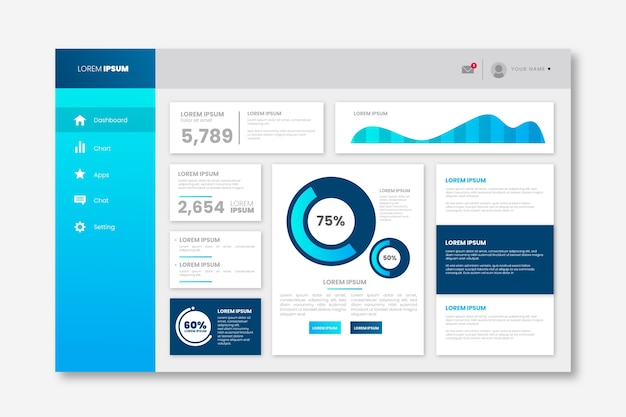 Gradient template dashboard user panel Free Vector