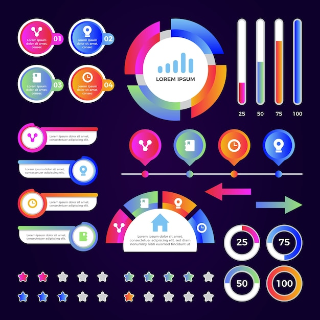 Gradient template infographic element collection Free Vector