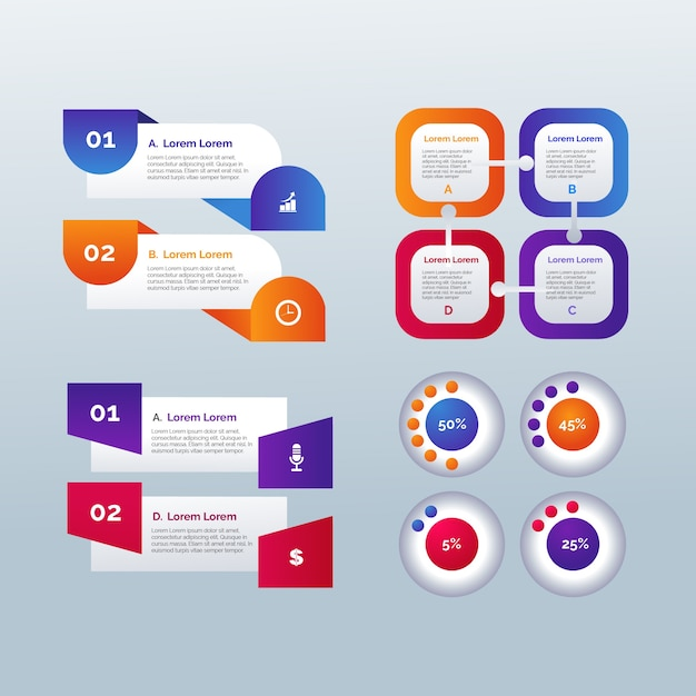 Gradient template infographic elements Free Vector