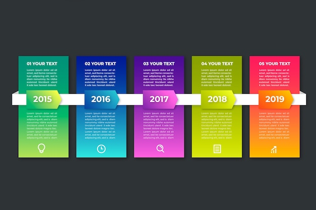 Gradient timeline infographic on black background with text boxes Free Vector