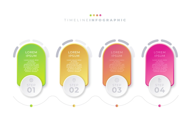 Gradient timeline infographic Free Vector