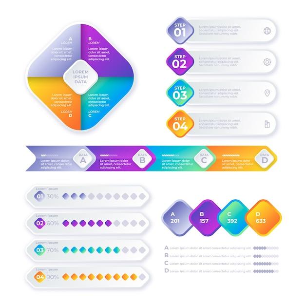 Gradient timeline infographic Free Vector