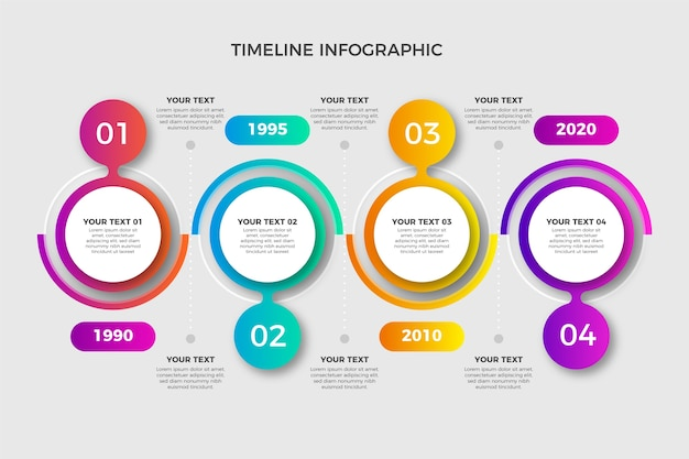 Gradient timeline with numbers Free Vector