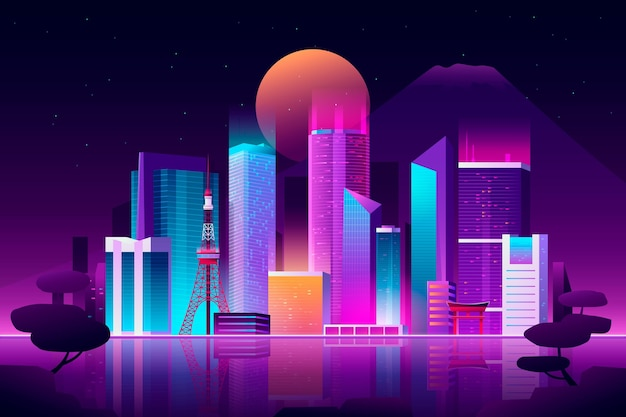 Gradient tokyo skyline with neon colours Free Vector