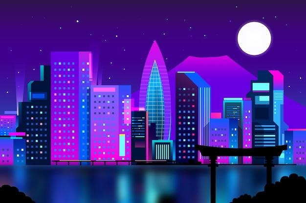 Skyline di tokyo sfumato con colori al neon Vettore gratuito