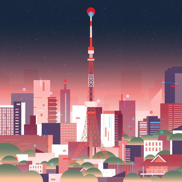 Gradient tokyo skyline with neon lights Free Vector