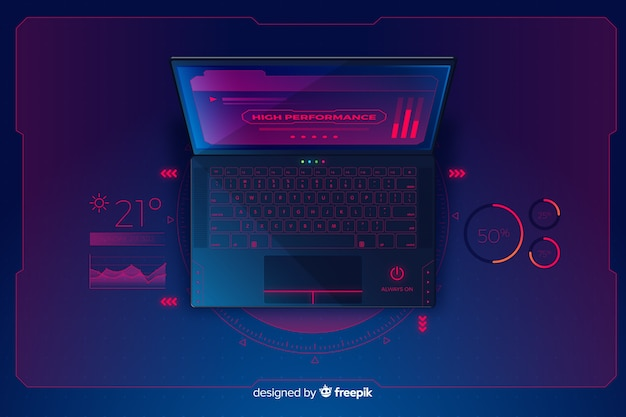 Gradient top view laptop technology background Free Vector