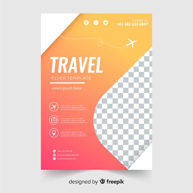 Gradient travel flyer template Free Vector