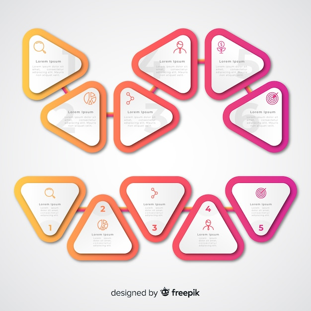 Gradient triangle infographic steps and copy space boxes Free Vector