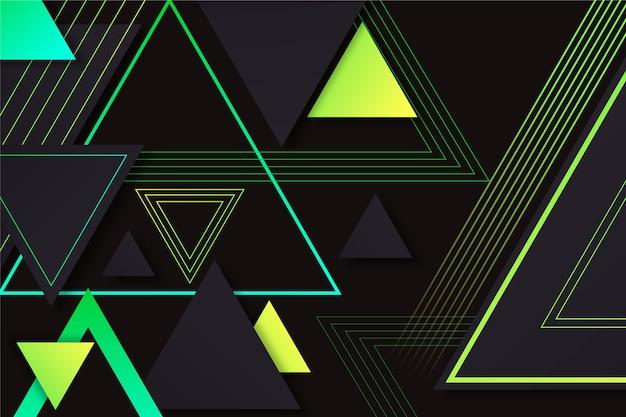 Градиентные треугольники на темном фоне Premium векторы