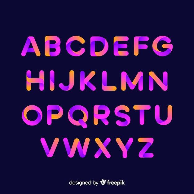 Gradient typography alphabet template Free Vector