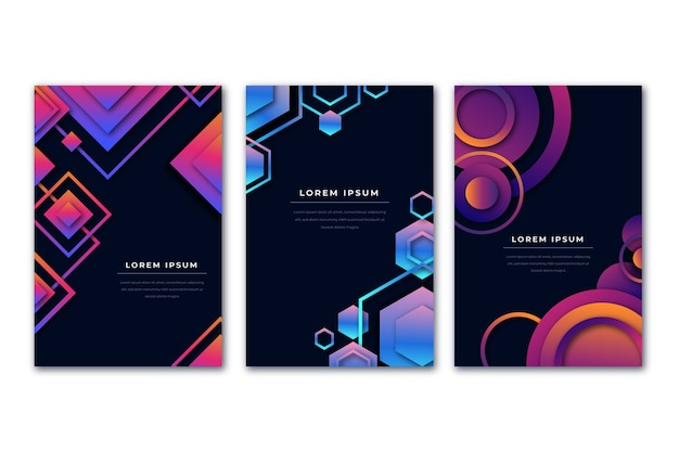 Gradient violet and blue shapes dark background covers Free Vector