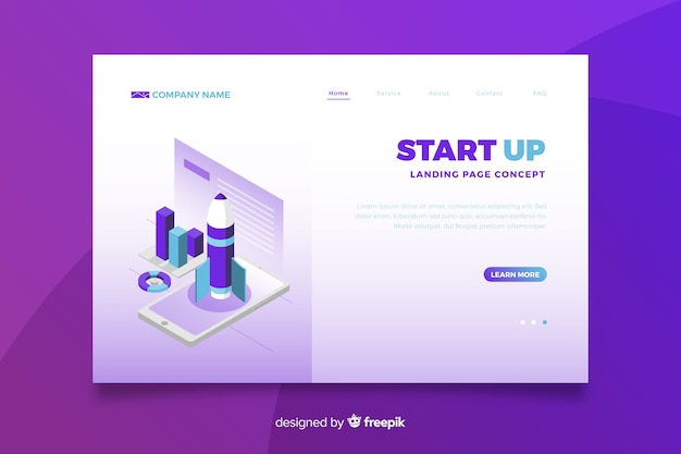 Gradient violet start up landing page Free Vector