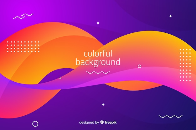 Gradient wavy shapes background Free Vector