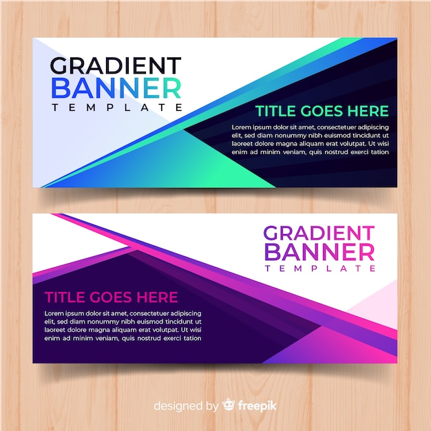 Gradient web banners Free Vector
