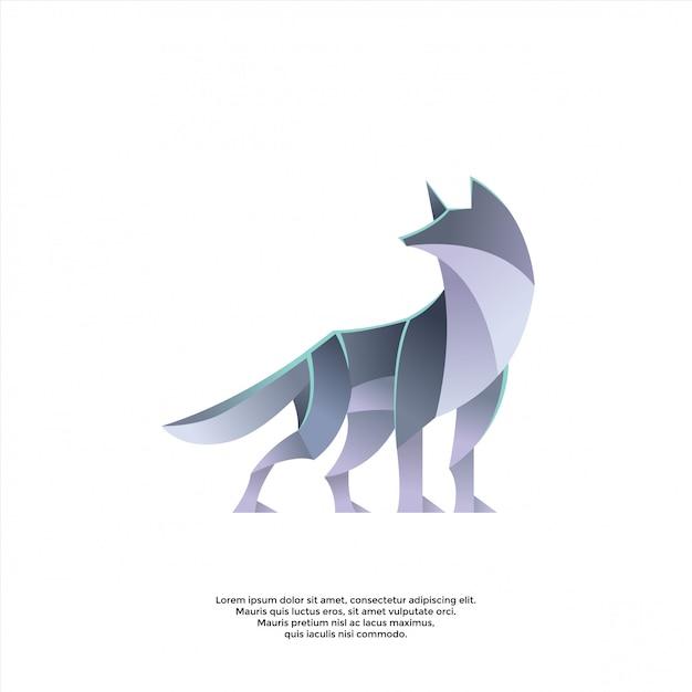 Gradient wolf logo template Premium Vector