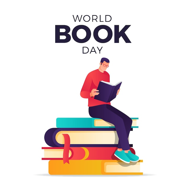 Gradient world book day illustration with man reading book Free Vector
