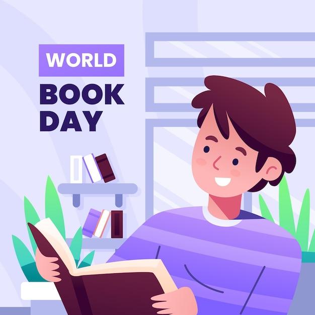 本を読んでいる人とグラデーション世界図書日イラスト 無料ベクター