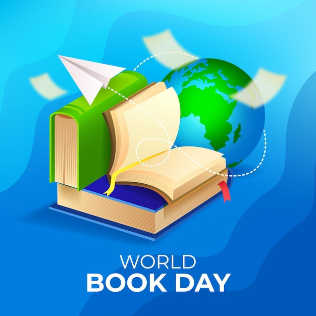 Gradient world book day illustration with planet Free Vector