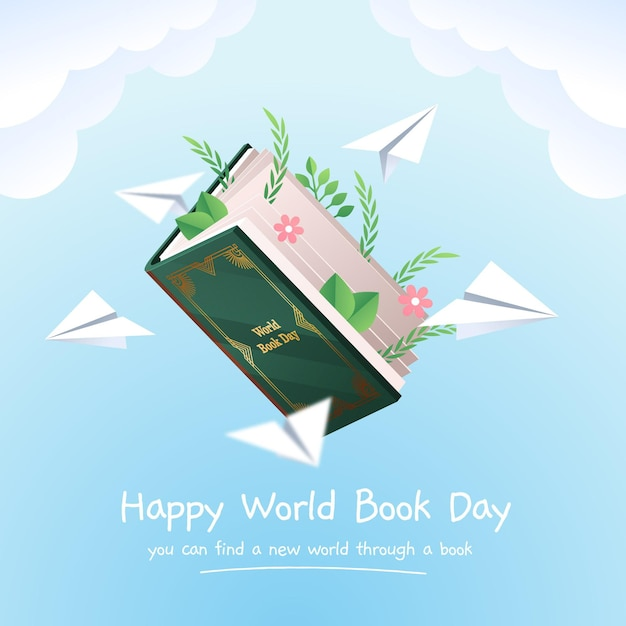 Gradient world book day illustration Free Vector