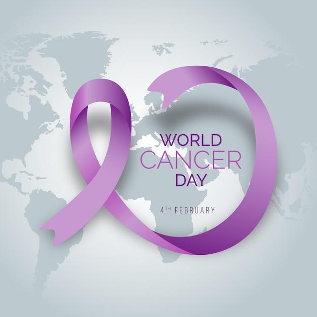 Nastro della giornata mondiale del cancro gradiente Vettore gratuito