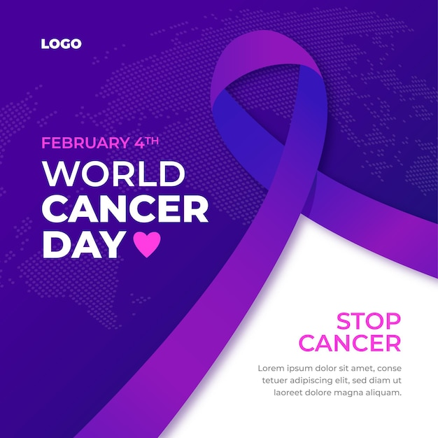 Gradient world cancer day Free Vector