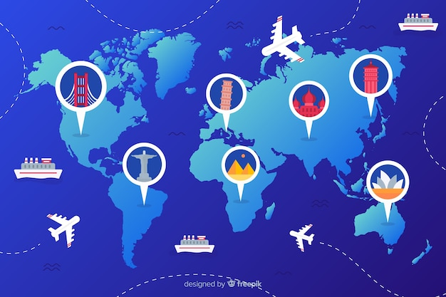 Gradient world tourism day with landmarks and transport Free Vector