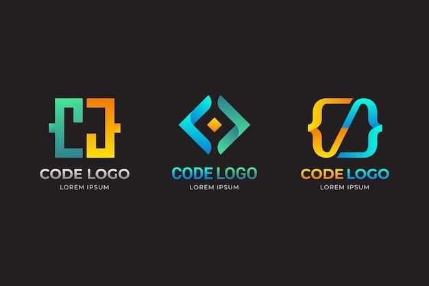 그라데이션 노란색과 파란색 코드 로고 템플릿 무료 벡터