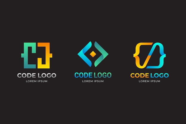 Gradient yellow and blue code logo template Free Vector
